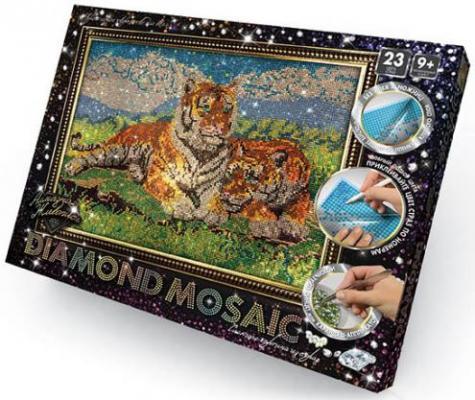 Набор креативного творчества ДАНКО-ТОЙС Diamond Mosaic - Тигры от 9 лет DM-01-07 набор для творчества данко тойс my color clutch клатч пенал пони ccl 01 01