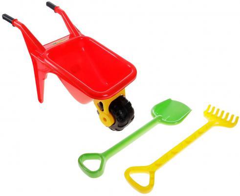 Тачка Полесье Садовод с большими лопатой и граблями в ассортименте 3 предмета полесье набор игрушек для песочницы тачка садовод с лопатой и граблями цвет желтый