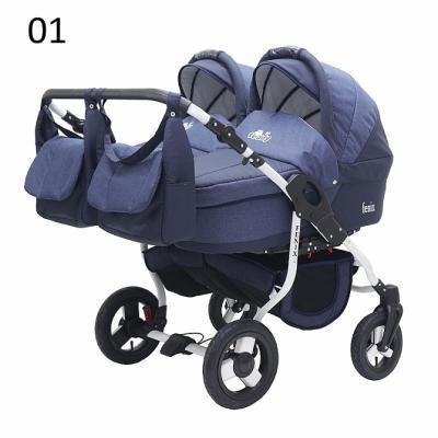 Коляска 2-в-1 для двоих детей Teddy BartPlast Fenix Duo (01/темно-синий)