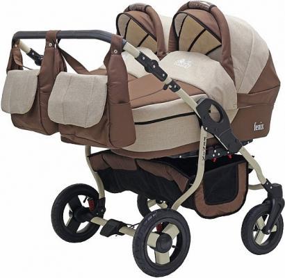 Коляска 2-в-1 для двоих детей Teddy BartPlast Fenix Duo (05/коричневый-бежевый) коляска прогулочная teddy bartplast diana 2016 pkl ro05 салатовый