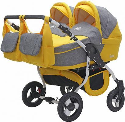 Коляска 2-в-1 для двоих детей Teddy BartPlast Fenix Duo (07/серый-желтый)