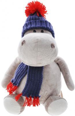 Мягкая игрушка бегемотик ORANGE Жорик в шапке плюш серый 30 см