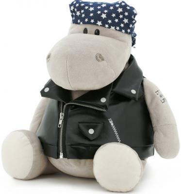 где купить Мягкая игрушка бегемотик ORANGE Байкер плюш серый 30 см MS6102/30 по лучшей цене