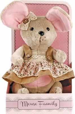 "Мягкая игрушка мышка Fluffy Family Country mouse ""Миндалька"" плюш текстиль бежевый 25 см 681207"