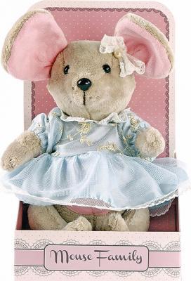 "Мягкая игрушка мышка Fluffy Family Вaby mouse ""Капелька"" текстиль бежевый 25 см 681209"
