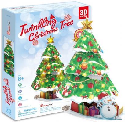 Пазл 3D CubicFun Новогодняя елка с подсветкой 23 элемента