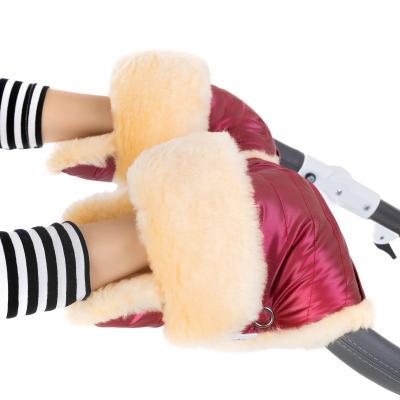 Муфта-рукавички для коляски Esspero Oskar (натуральная шерсть/ruby)