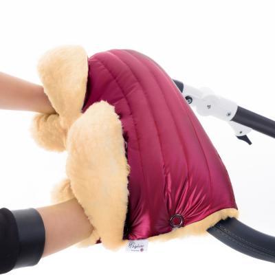 Муфта для рук на коляску Esspero Diaz Lux (натуральная шерсть/ruby)