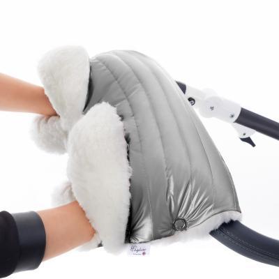 Муфта для рук на коляску Esspero Soft Fur Lux (натуральная шерсть/silver)