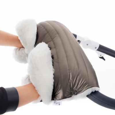 Муфта для рук на коляску Esspero Soft Fur Lux (натуральная шерсть/almond)