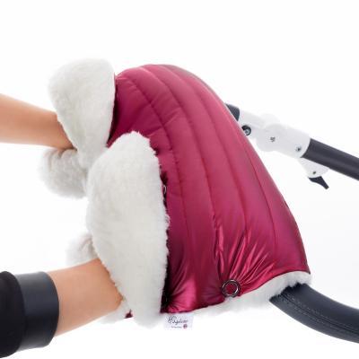 Муфта для рук на коляску Esspero Soft Fur Lux (натуральная шерсть/ruby)