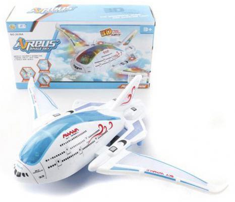 """Самолет Shantou Gepai """"Аэробус"""" 31 см белый 3D подсветка, звук 2539A"""