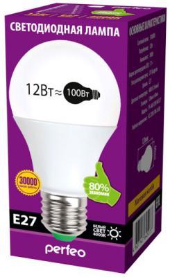 Лампа светодиодная груша Perfeo PF-A60 E27 12W 3000K