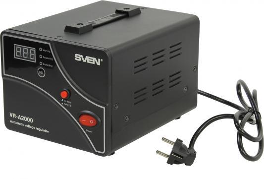 Стабилизатор напряжения Sven VR-A 2000 черный 2 розетки стабилизатор sven vr a5000 sv 014896