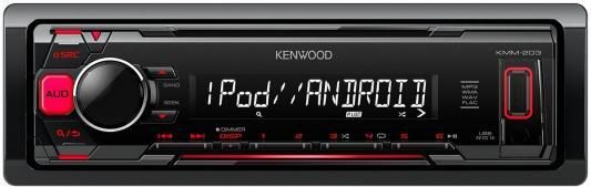 Автомагнитола Kenwood KMM-203 USB MP3 FM 1DIN 4х50Вт черный автомагнитола kenwood kmm 103gy usb mp3 fm 1din 4х50вт черный