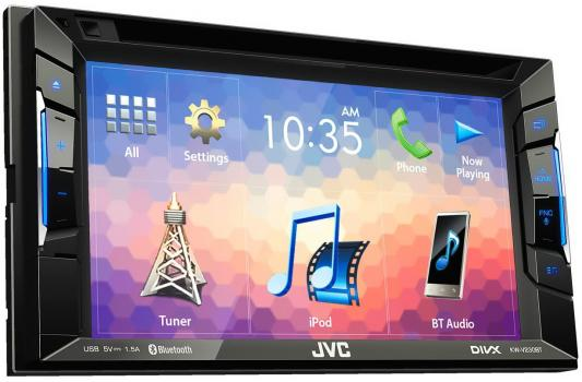 Автомагнитола JVC KW-V230BT 6.2 USB MP3 DVD CD FM 2DIN 4x50Вт черный fm модулятор guarding the dragon 2127 mp3 cd dvd