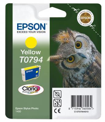 Картридж Epson C13T07944010 для Epson Stylus Photo 1500W желтый картридж epson t0964 yellow для stylus photo r2880 c13t09644010