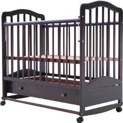 Кроватка-качалка Лаура 6 (с ящиком/махагон)
