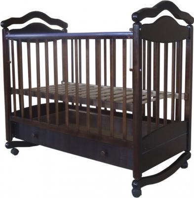 Кроватка-качалка Лаура 7 (с ящиком/шоколад)