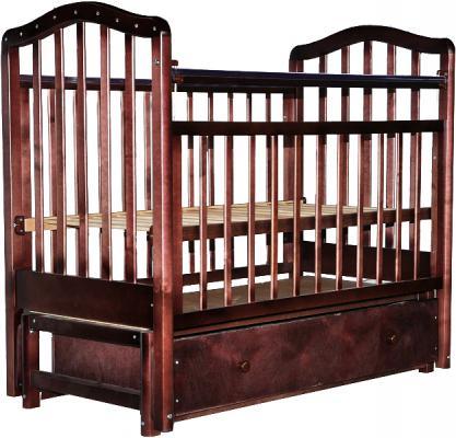 Кроватка с маятником Лаура 1 (с ящиком/шоколад)