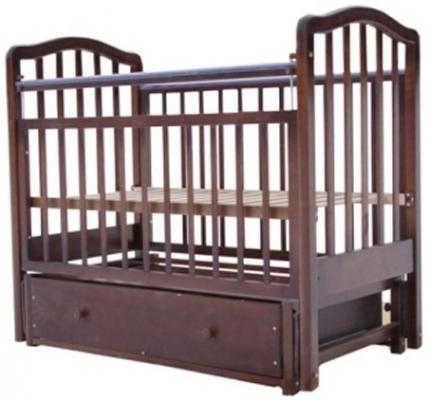 Кроватка с маятником Лаура 2 (с ящиком/шоколад)