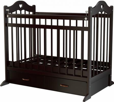 Кроватка с маятником Briciola 12 (с ящиком/темная)