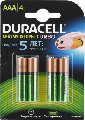 Аккумулятор Duracell HR03-4BL 850 mAh AAA 4 шт зарядное устройство аккумуляторы duracell cef14 aa aaa 4 шт 2xaaa 850mah 2xaa 2500mah