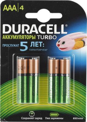 Аккумулятор Duracell HR03-4BL 850 mAh AAA 4 шт duracell cef14 4 hour charger 2 x aa1300mah