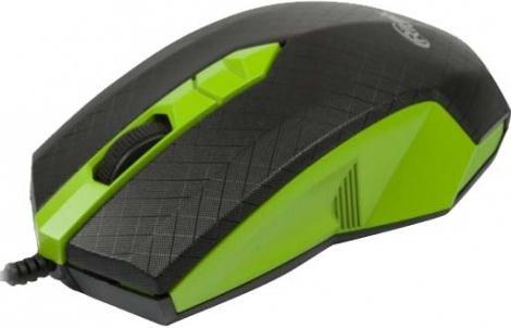 Мышь проводная Ritmix ROM-202 чёрный зелёный USB