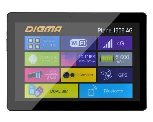 "Планшет Digma Plane 1506 4G 10.1"" 8Gb черный Wi-Fi Bluetooth 4G 3G Android PS1084ML"