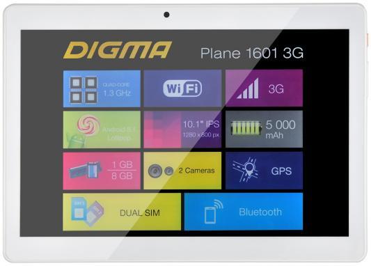 Планшет Digma Plane 1601 3G 10.1 8Gb белый Wi-Fi Bluetooth 3G Android PS1060MG планшет digma plane 9505 3g 1gb 8gb 3g android 5 1 графит [ps9034mg]