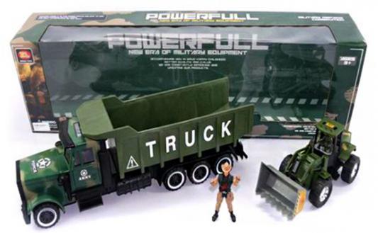 Купить Трактор Shantou Gepai Военный трак с трактором 3 шт 70 см зеленый ZL668-A18, Игрушечные машинки