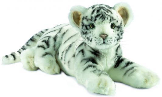 Мягкая игрушка тигр Hansa Детеныш белого тигра лежащий искусственный мех белый 36 см 4754 мягкая игрушка собака hansa собака породы бишон фризе искусственный мех белый 30 см 6317
