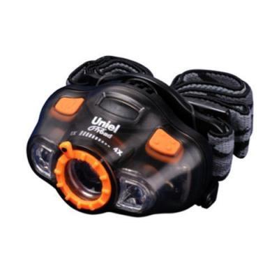 Налобный светодиодный фонарь Uniel (05728) от батареек 66х46 60 лм P-HL081-BB Grey uniel налобный светодиодный фонарь uniel 05145 от батареек 64х35 60 лм p hl082 cb black