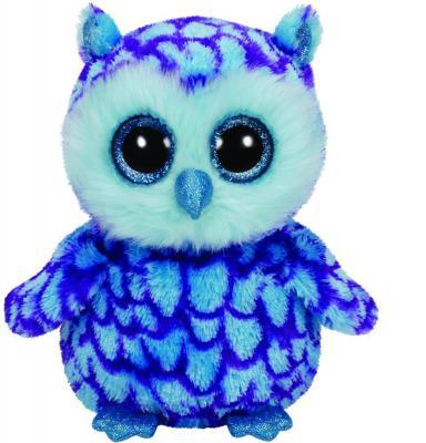 Мягкая игрушка сова TY Совенок Oscar искусственный мех плюш голубой 15 см 0008421361489