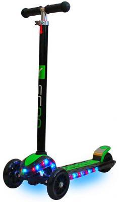 Купить Самокат Y-SCOO MAXI Laser Show черный/зеленый, Трехколесные самокаты для детей