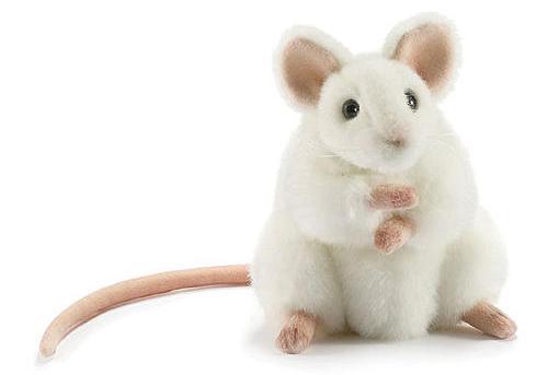 Купить Мягкая игрушка мышь Hansa Белая мышь искусственный мех белый 16 см 5323, Животные
