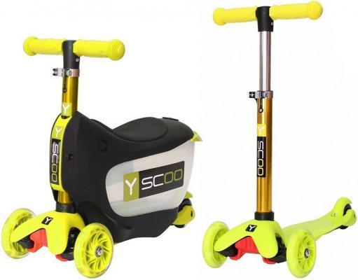 Самокат-каталка Y-SCOO Mini Jump&Go желтый со светящимися колесами