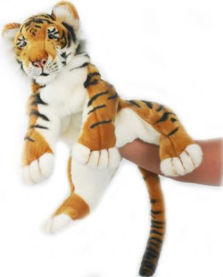 Мягкая игрушка тигр Hansa Тигренок, игрушка на руку искусственный мех синтепон рыжий белый черный 38 см 4033
