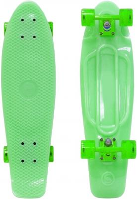 Купить Скейтборд Y-SCOO Big Fishskateboard GLOW 27 RT винил 68, 6х19 с сумкой GREEN/green 402E-G, зеленый, Скейтборды