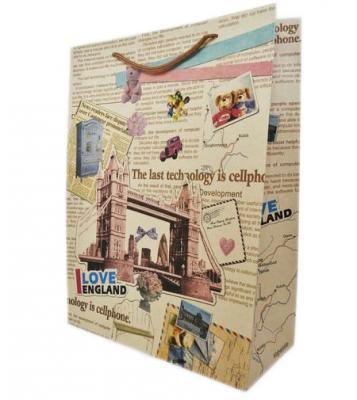 Купить Пакет подарочный Winter Wings КРАФТ 28х37х10 см 1 шт BG1543, Подарочные пакеты