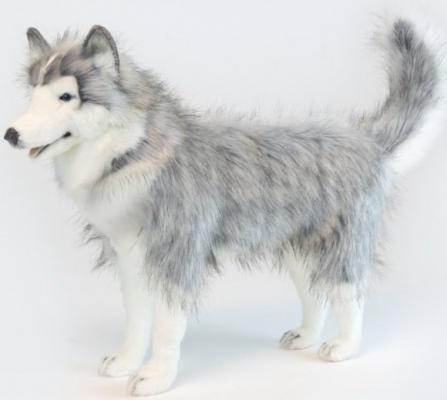 Мягкая игрушка собака Hansa Хаски серый искусственный мех синтепон серый 75 см 6034 мягкая игрушка hansa хаски серый стоящий 75 см 6034