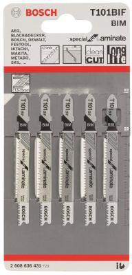 Лобзиковая пилка Bosch T 101 BIF BIM 5 шт 2608636431 лобзиковая пилка bosch t 118 af bim 2608634505