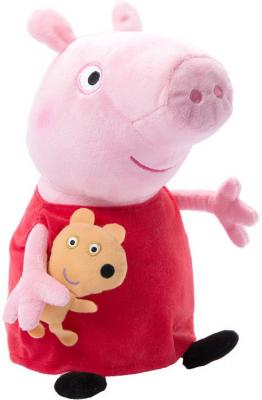 Мягкая игрушка свинка Peppa Pig Пеппа с игрушкой текстиль розовый красный 40 см мягкая игрушка peppa pig джордж с машинкой свинка розовый текстиль 18 см 29620