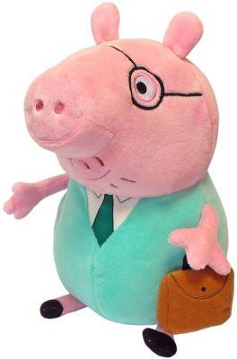 Мягкая игрушка свинка Peppa Pig Папа свин с кейсом текстиль розовый зеленый 30 см peppa pig playing football