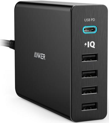 Сетевое зарядное устройство Anker PowerPort+ 5 USB-C 4 x USB 2.4А черный A2053L11