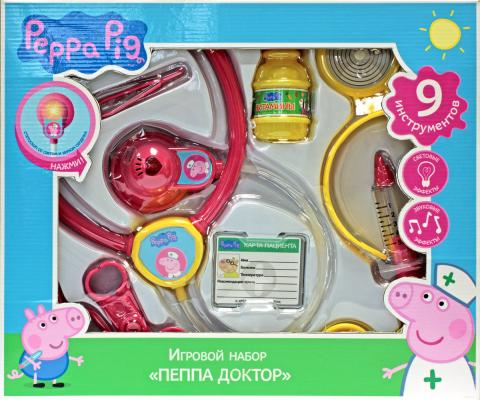 Игровой набор Peppa Pig Пеппа доктор 9 предметов свет, звук игровой набор peppa pig пеппа и друзья 6 предметов 24312