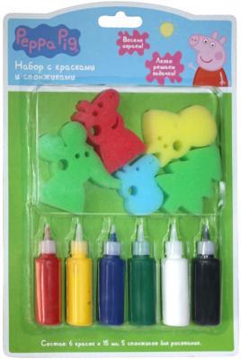 Набор для творчества РОСМЭН набор с красками и спонжиками, Peppa Pig от 3 лет 31074 росмэн раскраска с красками мстители
