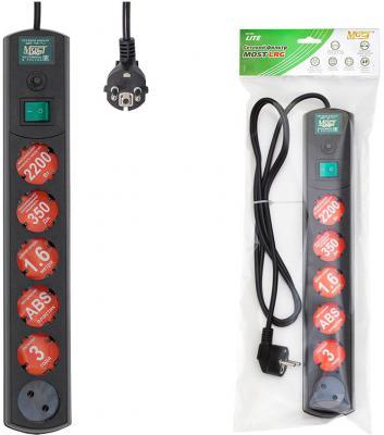 Сетевой фильтр MOST Lite LRG черный 6 розеток 1.6 м