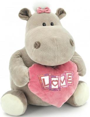 Мягкая игрушка бегемотик ORANGE Девочка с сердцем плюш серый 30 см